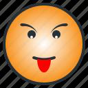 emoji, emoticon, face, kid, tease, tonge out icon