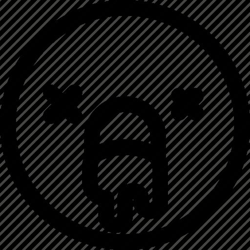 emoji, emoticon, emotion, expression, face, sick, smiley icon