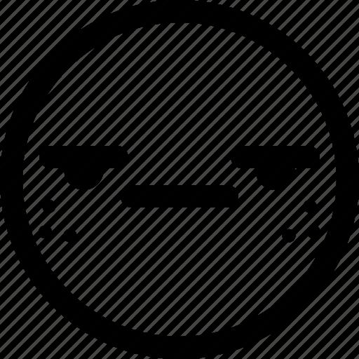 emoji, emoticon, expression, face, smily, suspect icon