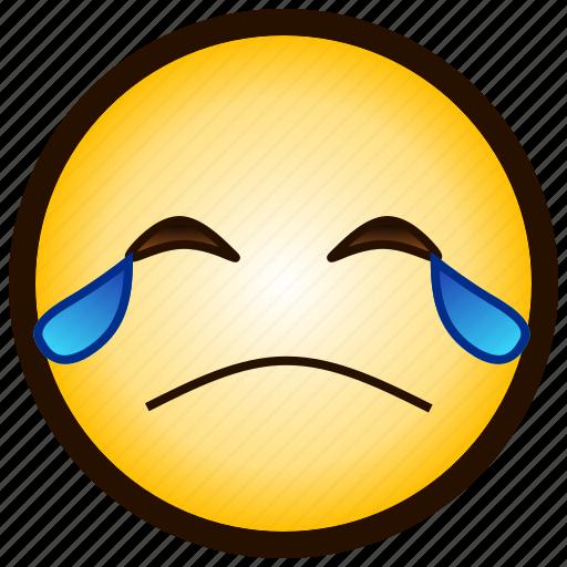 ;'-(, color, crying, emoji, emotion, sad, smiley icon
