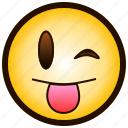 ;-p, color, drooling, emoji, smile, smiley, tongue icon
