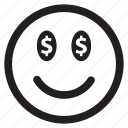 dollar, emoticon, emotion, face, happy, money, smile, smiley icon