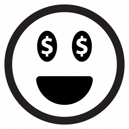 dollar, emoticon, emotion, face, happy, money, smiley, surprise icon