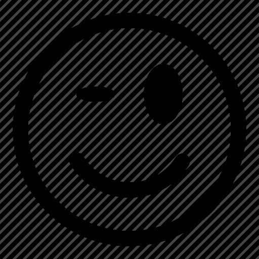 avatar, emoticon, emoticons, emotion, expression, face, happy, smile, smiley, wink icon