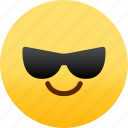 cool, emoji, emotion, expression, face, feeling icon