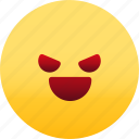 emoji, emotion, evil, expression, face, feeling icon