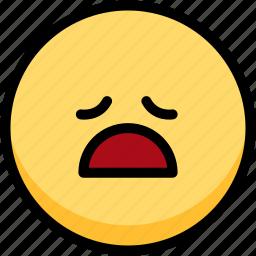 emoji, emotion, expression, face, feeling, tried icon
