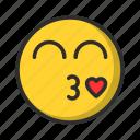 emoji, kiss, smiley, emoticon, love
