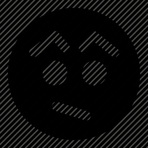 confused, emoticons, eyebrows, surprised, unsure icon
