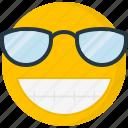 cheerful, emoji, face, grin, happy, pictorial representation, sunglasses icon