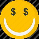currency, dollar, dollar eyes, emoji, face, greedy, money-mouth icon