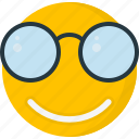 emoticon, nerd, smile, smiling, specs, spectacles, stereotype icon