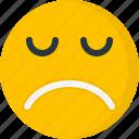 disappointed, emoji, emoticon, eyes closed, face, pictorial representation, sad icon