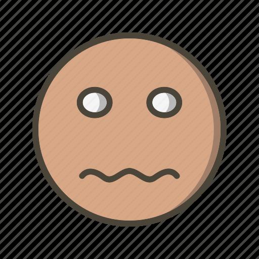 emoji, emoticon, face, nervous icon