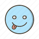 emoticon, stuck, tongue icon