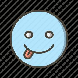 emoticon, stuck, tongue icon