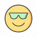cool, emoticon, face, smiley icon