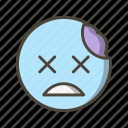 emoticon, face, zombie icon