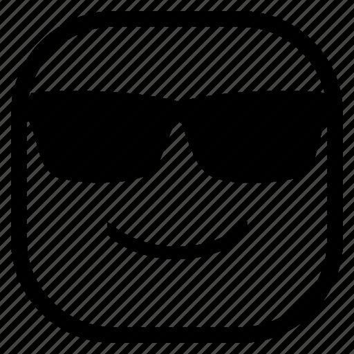 emoji, emoticon, glasses, smile icon