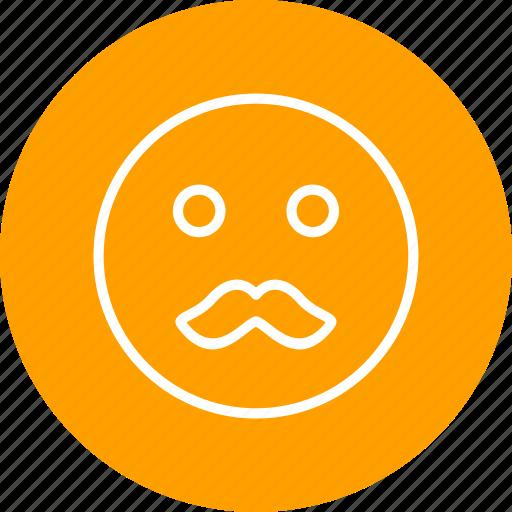 emoticon, face, moustache icon