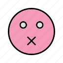 emoticon, face, mute, smiley icon