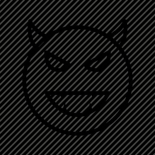 devil, emoji, emoticon, face icon