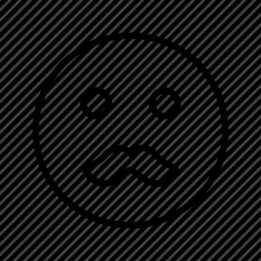 emoji, emoticon, face, moustache icon