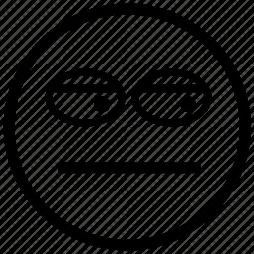 emoticon, emotion, face, head, person, smiley, suspicious icon