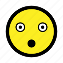 amazed, astonish, emoticon, shocked, startled, surprised icon