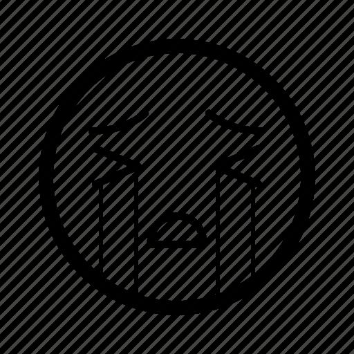 cry, emoticon, emotion, expression, mood, sad, smiley icon