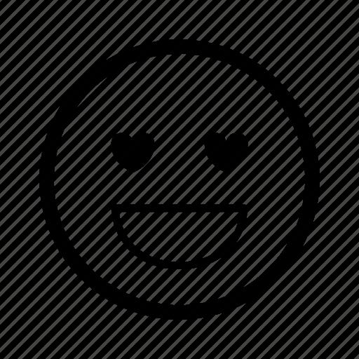 emoticon, expression, happy, heart, love, romantic, smiley icon