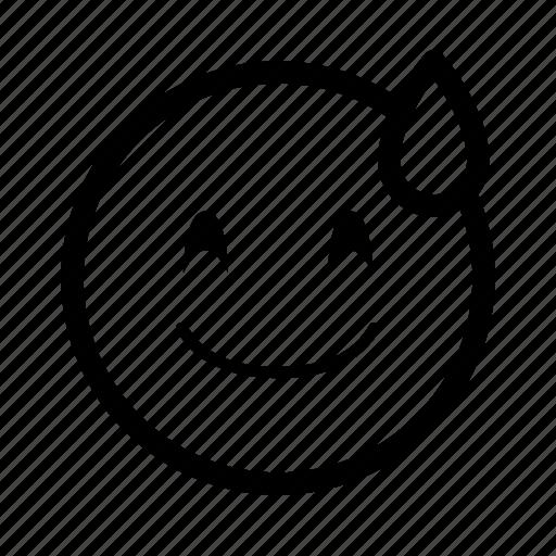 emoji, emoticon, emotion, face, happy, smiley, sweat icon