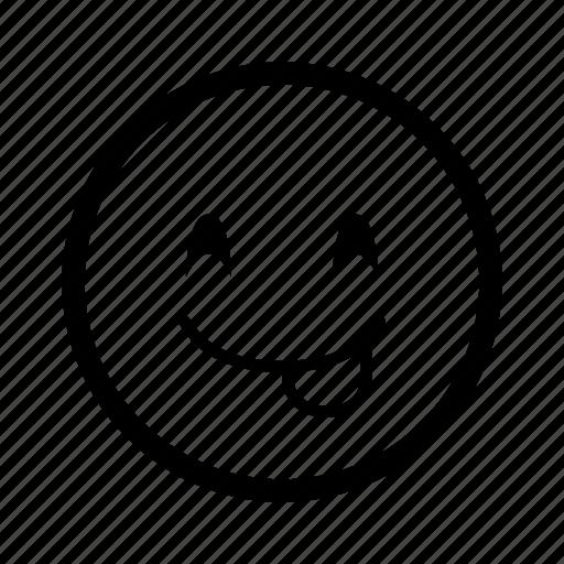 emoji, emoticon, happy, love, mood, smiley, tounge icon