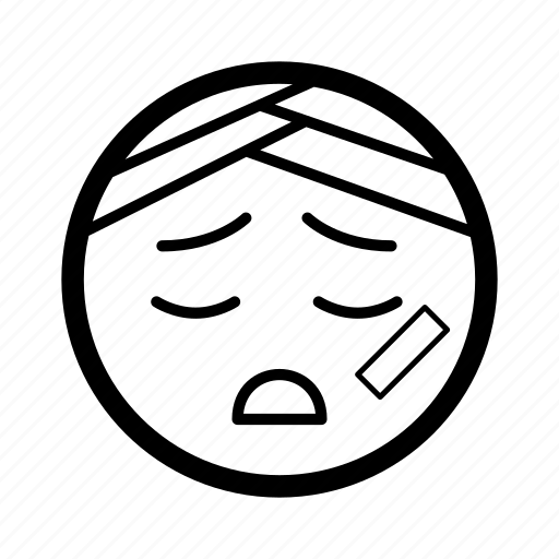 emoji, emoticon, hurt, ill, injured, sick, smiley icon