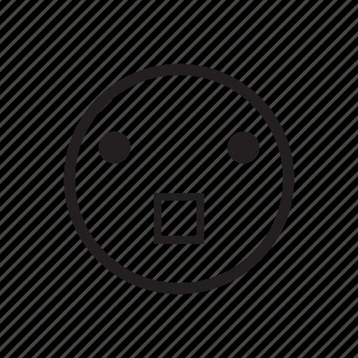 emoji, emoticon, face expression, mood, scared, shocked, worry icon