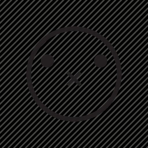 emoji, emoticon, emotion, face, quiet, silent, speechless icon