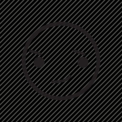 emoji, emoticon, emotion, expression, feeling, shy, smirk icon