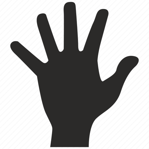 fingers, five, gesture, hand icon