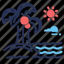 beach, palms, sea, vacation icon