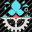 cog, eco, gear, leaf, pollution, technology, tree icon