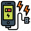 battery, charging, smartphone, technology icon