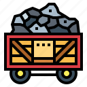 coal, fire, mine, wagon icon