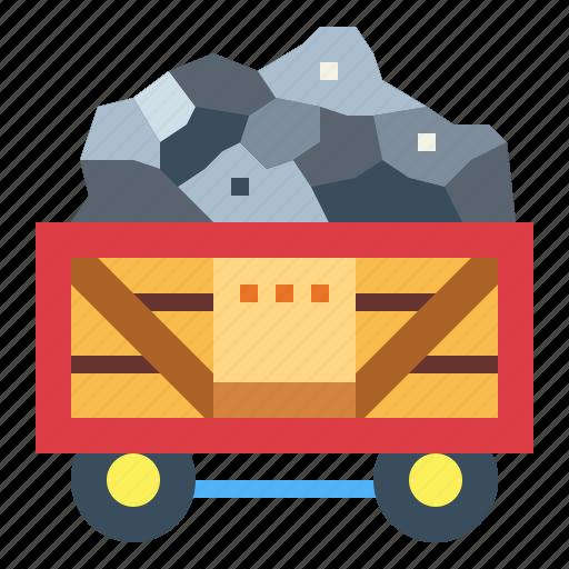 coal, fire, mine, wagon icon