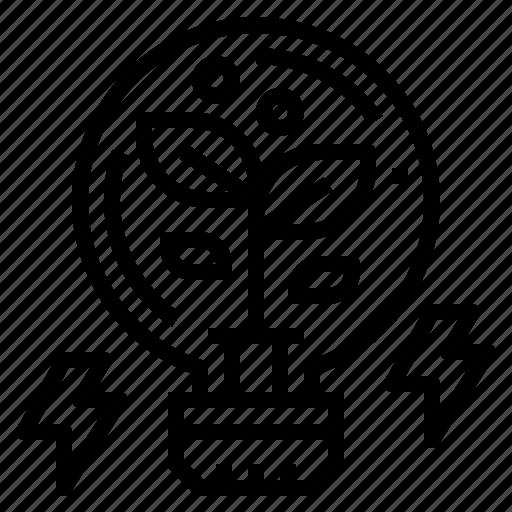 bulb, creative, idea, light, plant icon