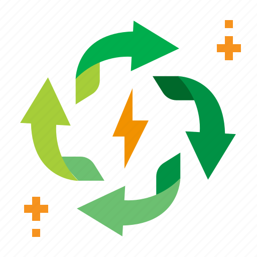 circulating, electric, energy, recycle icon
