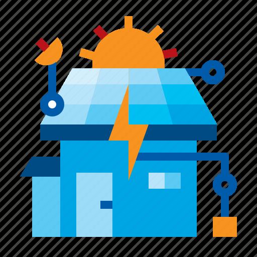 cell, energy, home, house, saving, solar icon
