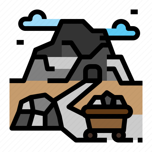 coal, landscape, mine, mountain, tram icon