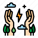 conservation, energy, hand, saving icon