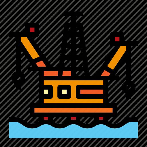 energy, oil, rig, sea icon