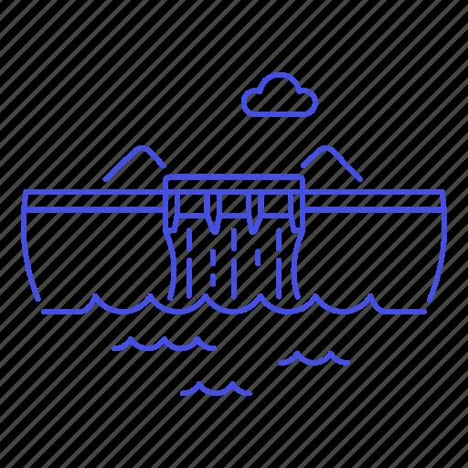 1, dam, energy, green, hydraulic, hydro, plant, power, renewable, station, water icon